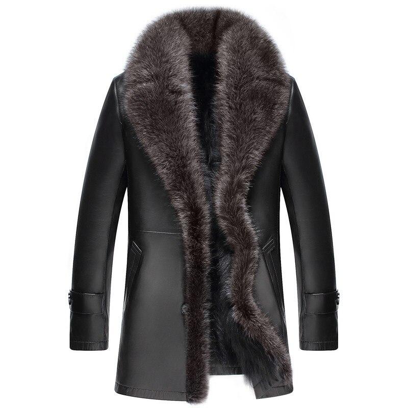 Genuine Leather Jacket Men Winter Jacket Real Sheepskin Coat For Men Raccoon Fur Warm Jackets Plus Size 5xl Veste Homme MY1761
