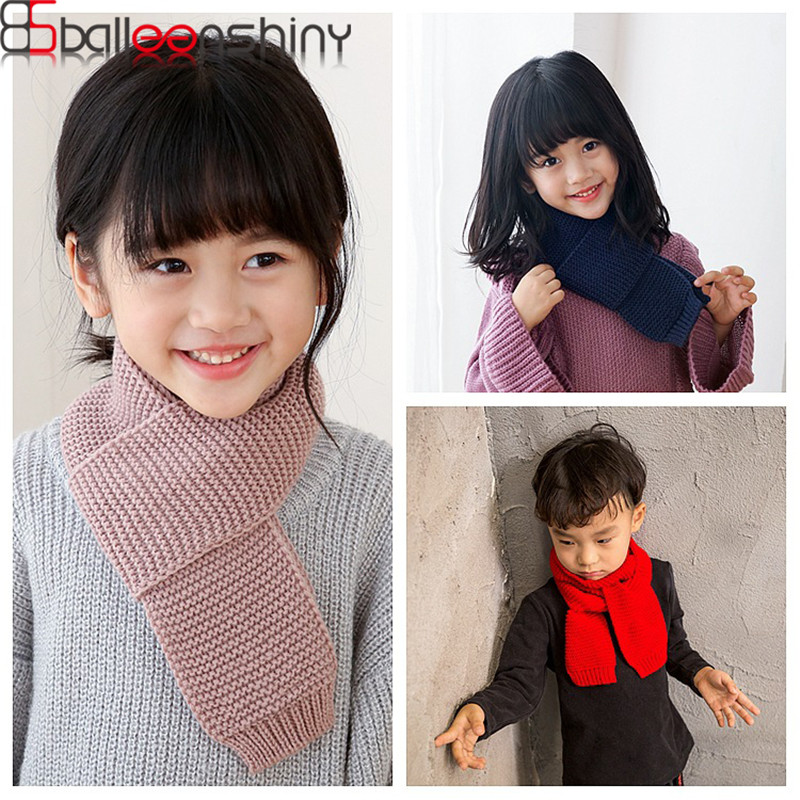 BalleenShiny Kids Warm Winter Scarf Knitted Woolen Solid Color Scarves For Boys&Girls Children Neckerchief Accessories
