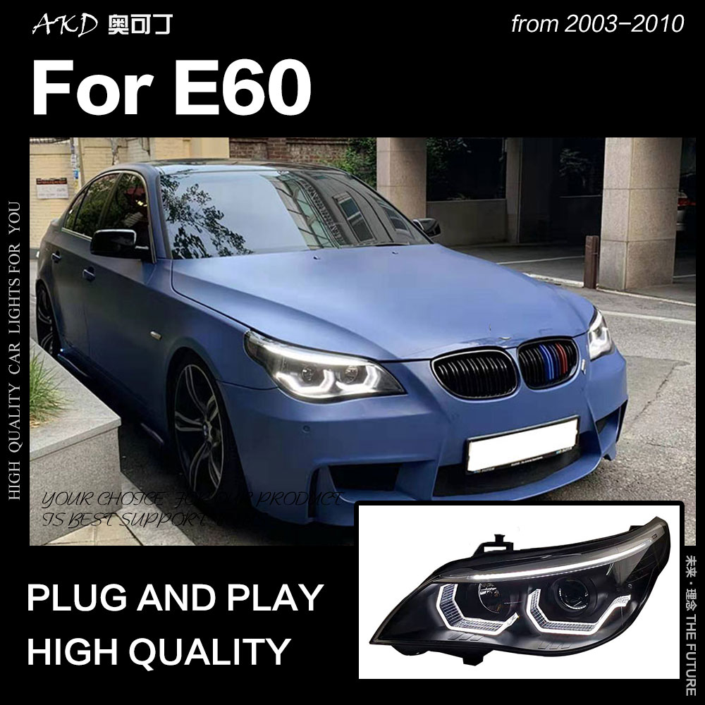 AKD Car Styling Head Lamp for <font><b>BMW</b></font> <font><b>E60</b></font> Headlights <font><b>2003</b></font>-2010 523i 530i Angel Eye LED Headlight DRL Hid Bi Xenon Auto Accessories image