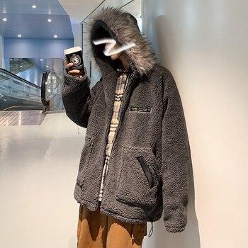 2019 Winter New Korean Version Of The Hooded Warm Super Thick Lamb Hair Loose Fur Collar Detachable Casual Coat