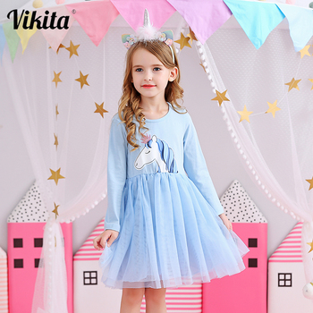 VIKITA Kids Princess Dresses Long Sleeve Girls Unicorn Cartoon Dress Baby Girls Birthday Party Costumes Children Tutu Dresses vikita girls unicorn dress princess tutu dress for girls children birthday party licorne vestidos kids autumn winter dresses
