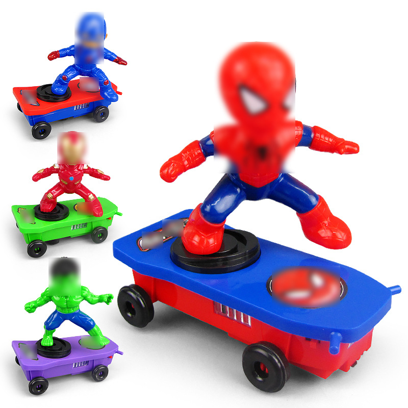 Douyin Celebrity Style Electric Captain Iron And Steel Lulin Arts&cralts Ju Spider-Man Light Music Turn Over Rotating Stunt Scoo
