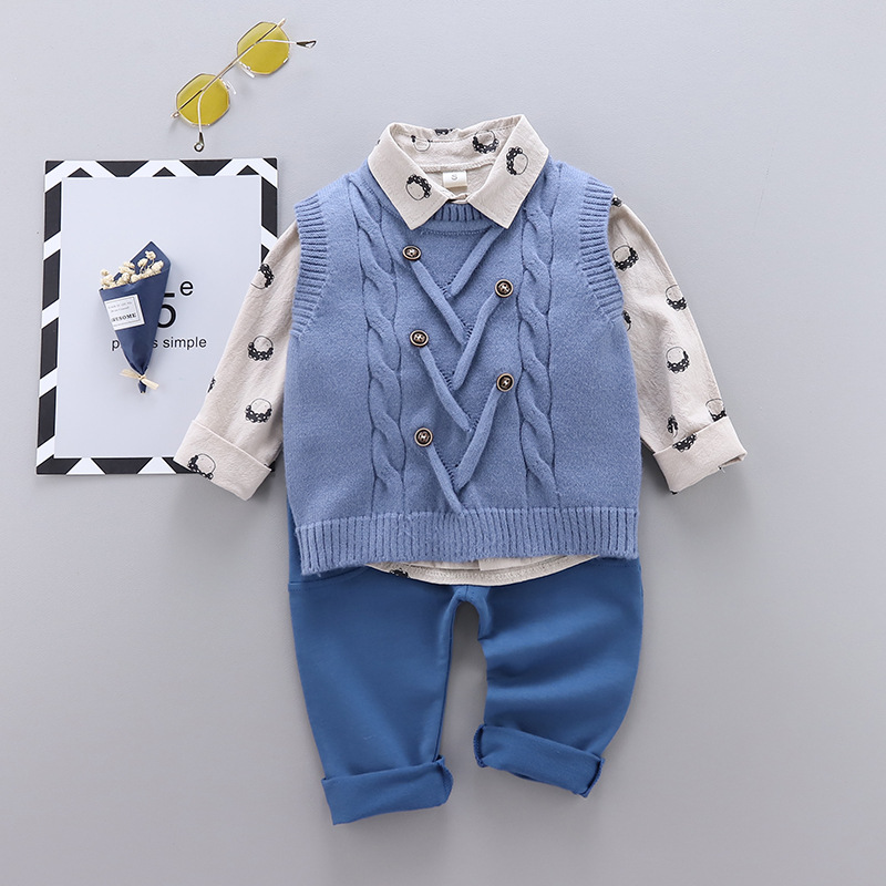 HYLKIDHUOSE 2020 Spring Baby Boys Clothing Sets Toddler Infant Clothes Knitted Vest Shirt Pants Casual Kids Children Clothing
