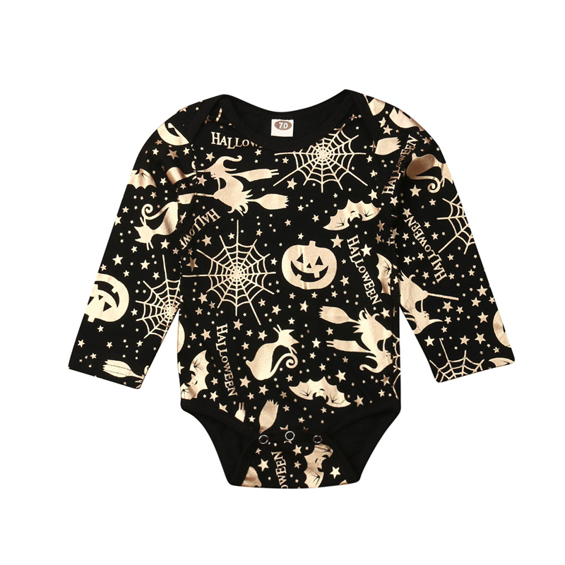 Halloween Clothes Baby 0-24M Gold Printed   Romper   Girls Boys Infant Toddler Child Costume Baby Jumpsuit Clothing 2019