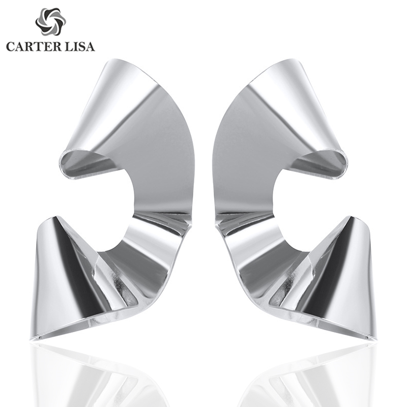 CARTER LISA Fashion Jewelry Gold/Silver Curved Metal Glossy Sequin Stud Earrings Best Gift For Women Girl Party Gifts Wholesale