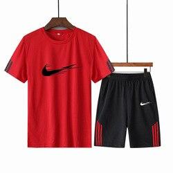Trainingspak Mannelijke Set Zomer Sport Kleding 2020 Afdrukken Herenkleding Fitness Shorts + T-shirt Mannelijke Pak 2 Stuks sets Plus Size