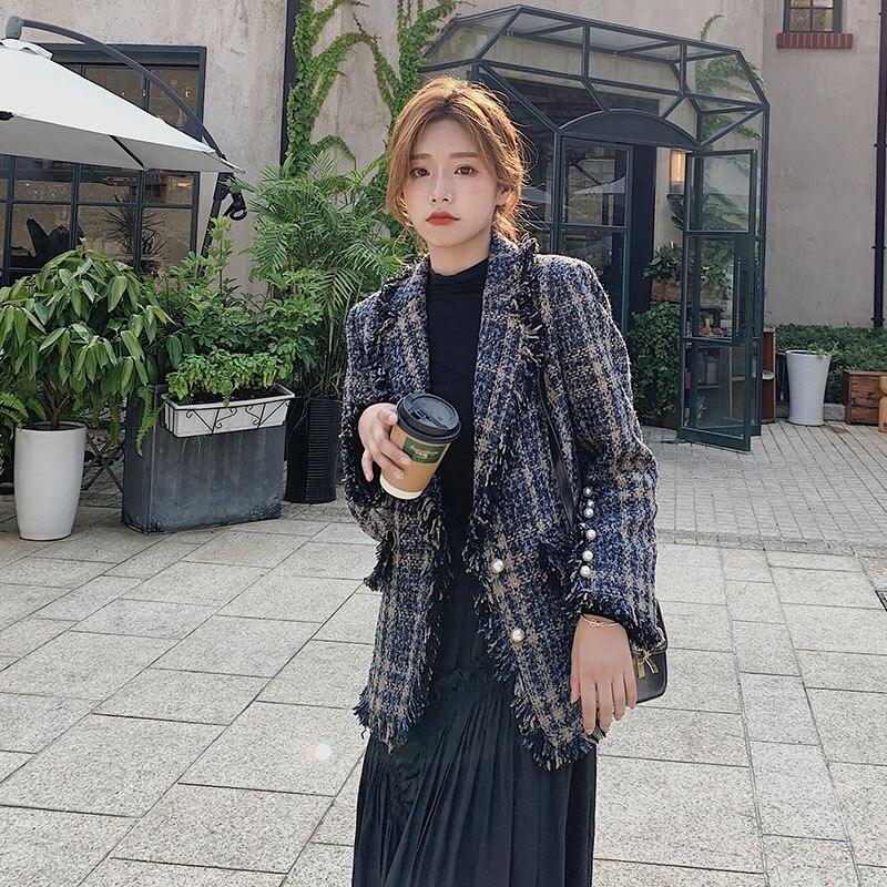 Retro Plaid Ladies Blazer Blue Stylish Casual Loose Suit Jacket Blazer Dames Korean Party Spring Autumn Women Blazer MM60NXZ