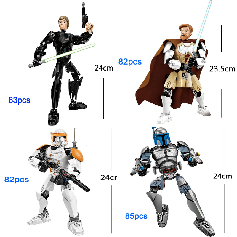 Big Size Jango Fett Command Cody Obi Wan Kenobi Luke Skywalk Star Wars Force Awakens Buildable Action Figure Block Toy