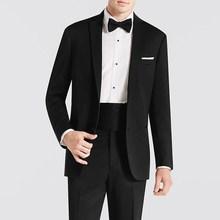 W stylu Vintage czarny biznes garnitury męskie dla odzież dla pana młodego proste klapy dwa przycisk 3 sztuka ślub smokingi dla pana młodego (kurtka + spodnie + łuk krawat) tanie tanio VANLYXCCI CN (pochodzenie) Poliester Groom wear REGULAR Mieszkanie Przycisk fly Pojedyncze piersi 2020092002 Satyna