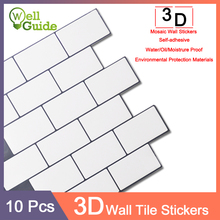 10pcs 3D Wall Sticker Mosaic Brick Self-Adhesive Waterproof paper for Kitchen Bathroom DIY ceramic tile PU PET