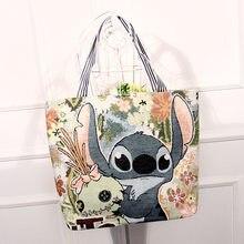 Sac en toile fourre-tout avec personnages de Disney pour femme, accessoire à la mode avec figure de Stitch, Mickey, Minnie, sac avec hanses pour dames ou à l'école,