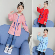 цена на Girls Hooded Trench Coat 2019 Spring Windbreaker For Teenager Korean Kids Clothing Big Girls Autumn Trench Jacket Clothes 4-13 Y
