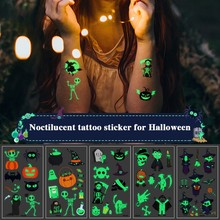 New Style Cute Funny Halloween Cartoon Luminous Eco-friendly Tattoo Waterproof Safety Sticker