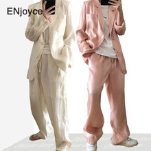 Women Korean Chic Rayon Silk Stain Thin Blazer and Pants Suit Sets