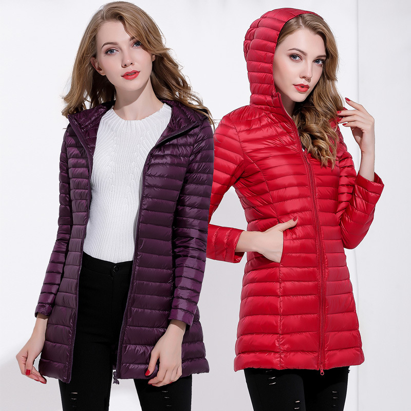 2019 Dress Frivolous   Down   Jackets Girls Long Fund Will Code Even Hat Self-cultivation Enlarge Code Loose   Coat