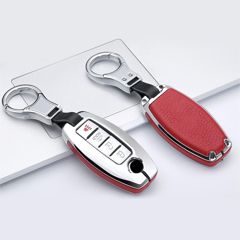 lowest price Protector Car Key case Metal Leather Remote For Infiniti Nissan Anti scratch