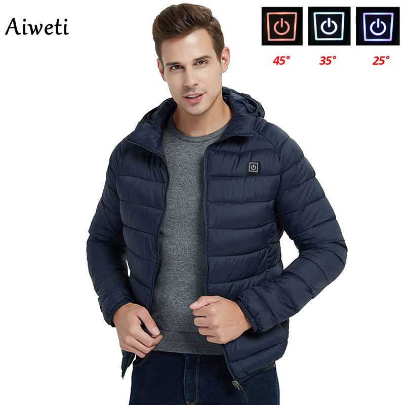 2020 Men Warm Jackets USB Heating Parkas Coat Smart Thermostat Cap can be removed Hooded Heated Cloth Warm Cotton clothes