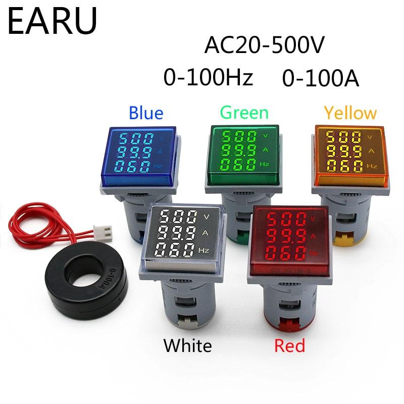 Square LED Digital Voltmeter Ammeter Hertz Meter AC20-500V Signal Lights Voltage Current Frequency Combo Meter Indicator Tester