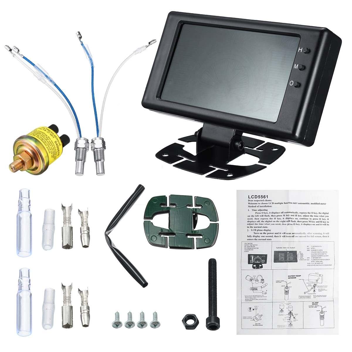 Voiture chaude 6 en 1 LCD voiture jauge numérique pression d'huile tension température de l'eau température de l'huile tachymètre RPM 8-18V