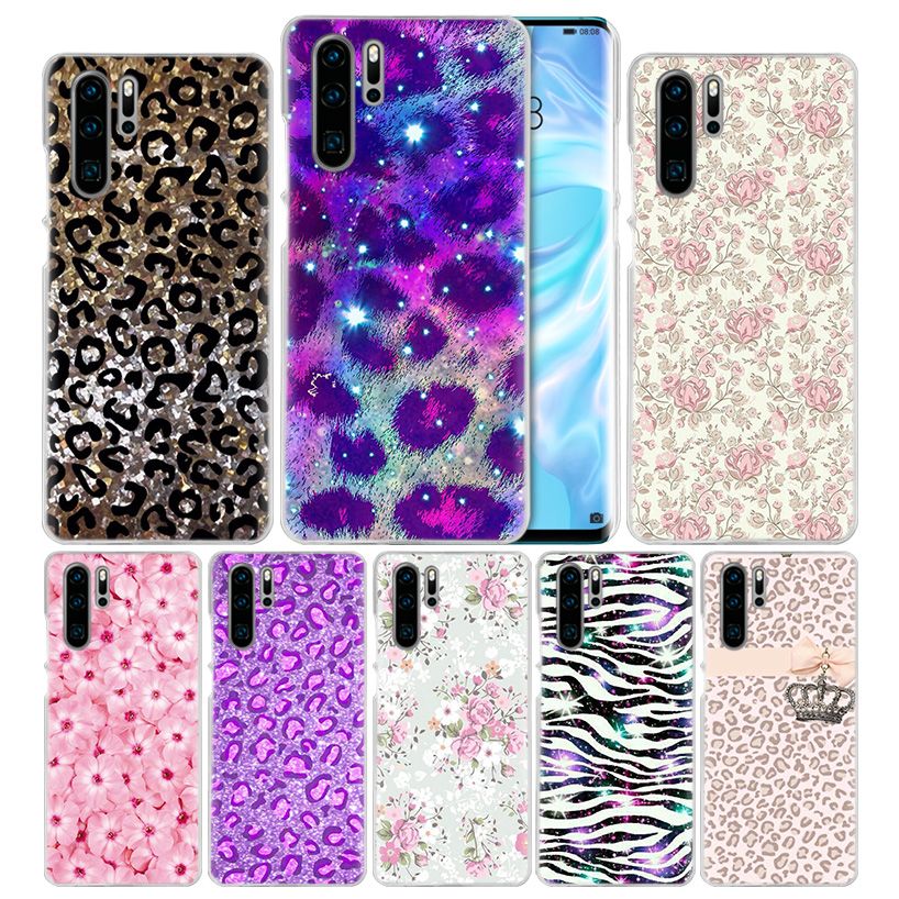 <font><b>Sexy</b></font> Flowers Leopard Print Case for Huawei <font><b>Mate</b></font> 30 <font><b>20</b></font> 10 P20 P30 Lite Pro P Smart Y9 Prime 2019 Honor 8A 8X 10i PC Phone Covers image