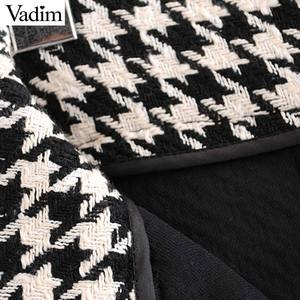 Image 5 - Vadim women elegant tweed houndstooth plaid midi skirt bow tie belt button decorate office wear chic mid calf skirts BA844