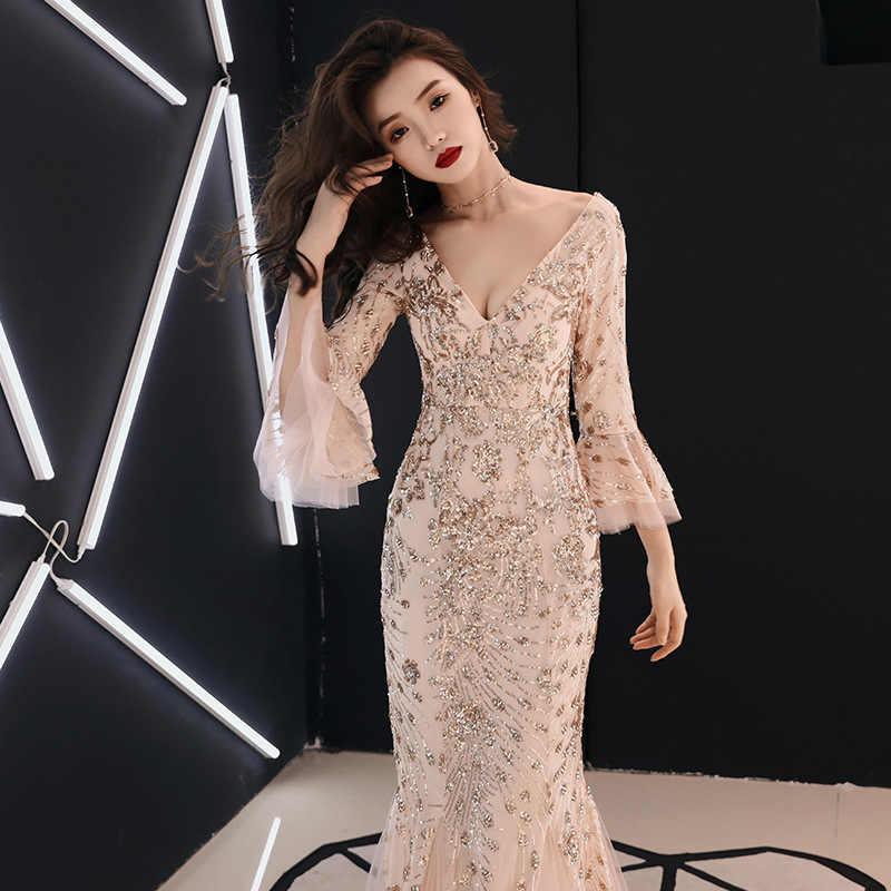 Es der YiiYa Abendkleid Champagner Gold Pailletten Charming Formal Trompete Kleid V-ausschnitt Flare Hülse Lange Party Kleider E063