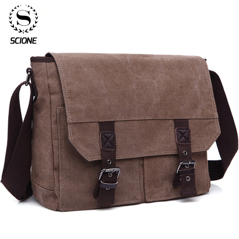 Scione Men Canvas Crossbody Pack Bag Business Vintag Messenger Bags For Men Shoulder Bag  Men's Messenger Office Travel Bag