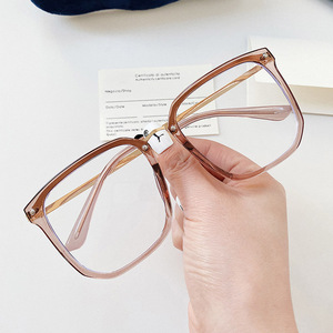 Image 3 - 새로운 대형 스퀘어 클리어 비 처방 렌즈 안경 대형 여성 남성 광학 안경 스펙타클 투명 합금