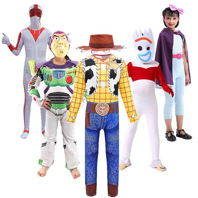 Dzieci zabawka na halloween historia Woody kombinezon Jessie sukienka chłopcy dziewczęta Buzz Lightyear kostium Forky Bo Peep Cosplay Duke Caboom stroje