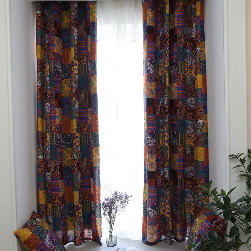 140*215cm Vintage Curtains Finished Bohemian Retro Ethnic Style Living Room Study Cotton And Linen Half Blackout Curtains