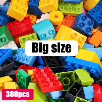 360 Uds de gran tamaño de ladrillo colorido a granel placas de ladrillos de construcción bloques Compatible Duploe bloque de juguetes para los niños