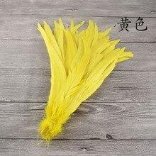 Atacado 50 pc/lote amarelo tingido coque penas 20-25cm longas caudas de frango plumas diy galo pena para o casamento carnaval decorat