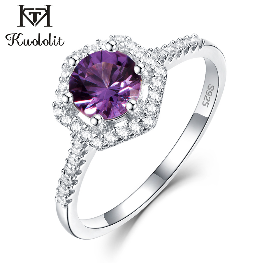 Kuololit Alexandrite Gemstone Rings For Women Solid 925 Sterling Silver  Color Change Stone Ring Engagement Gift Fine Jewelry