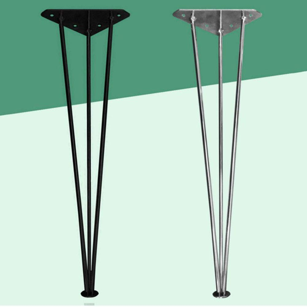 Metal Hairpin Table Leg X4, Heavy Duty Furniture Legs Table And Chair Legs With Floor Protector Black/Silver Height 72/73cm