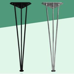 Pata de mesa de horquilla de Metal X4, patas de muebles de alta resistencia patas de mesa y silla con Protector de suelo negro/plata altura 72/73cm