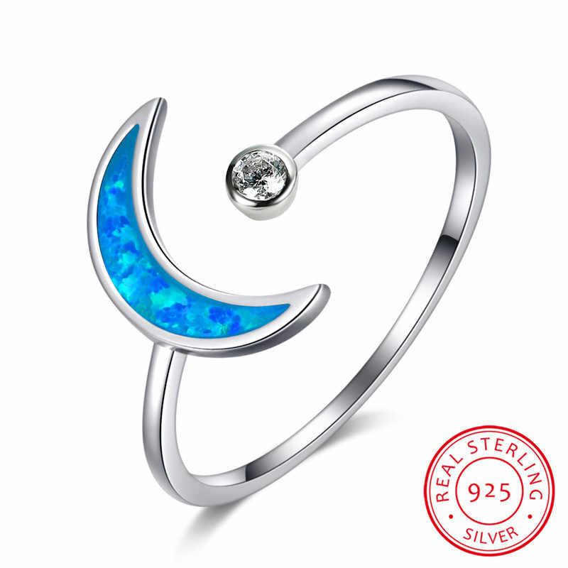חמוד נשי כחול לבן אופל ירח טבעת מינימליסטי 925 סטרלינג כסף אירוסין טבעת הבטחת אהבת חתונה לנשים