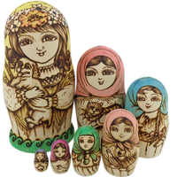 7pcs/Set Wooden Russian Nesting Dolls Dried Basswood Traditional Authentic Handmade Matryoshka Doll Kids Gift AN88