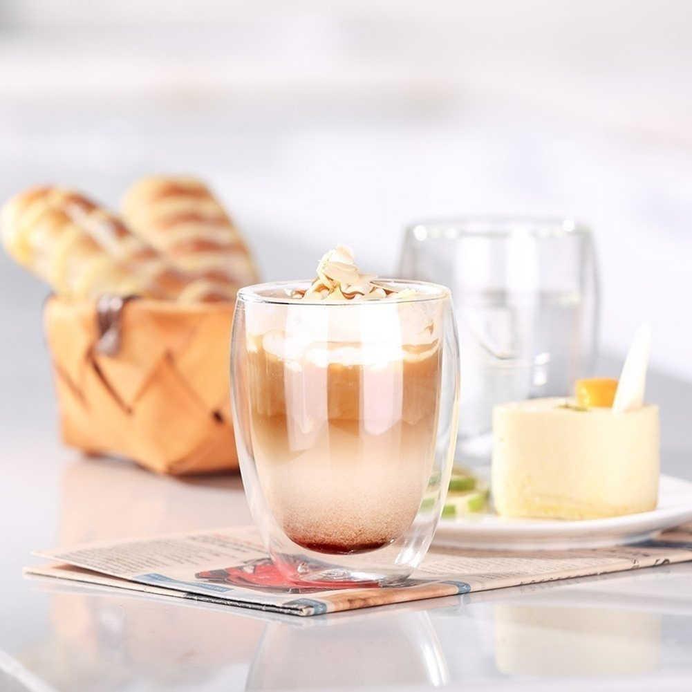 4 個 80 ミリリットル二重壁断熱ガラスエスプレッソカップ飲料茶ラテコーヒーマグ飲料カップホームキッチンアクセサリー