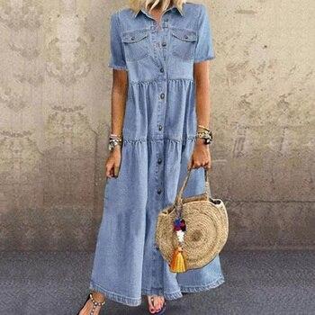 цена на 2020 Women Denim Dresses Summer Casual Vintage Single Breasted Turn-down Collar Pockets Loose Long Dress Maxi Boho Dress