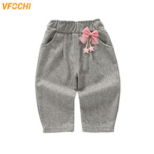 VFOCHI 2019 New Girls Pants Spring Autumn Thin Stretch Waist Kids Solid Color Children Clothes Baby Harem