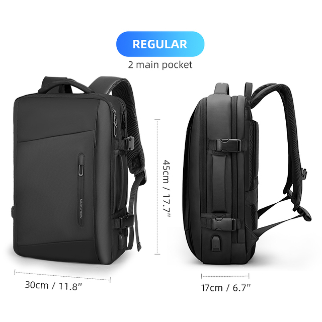 17 inch Laptop Backpack Raincoat Male Bag USB Recharging Multi-layer Space Travel Male Bag Anti-thief Mochila
