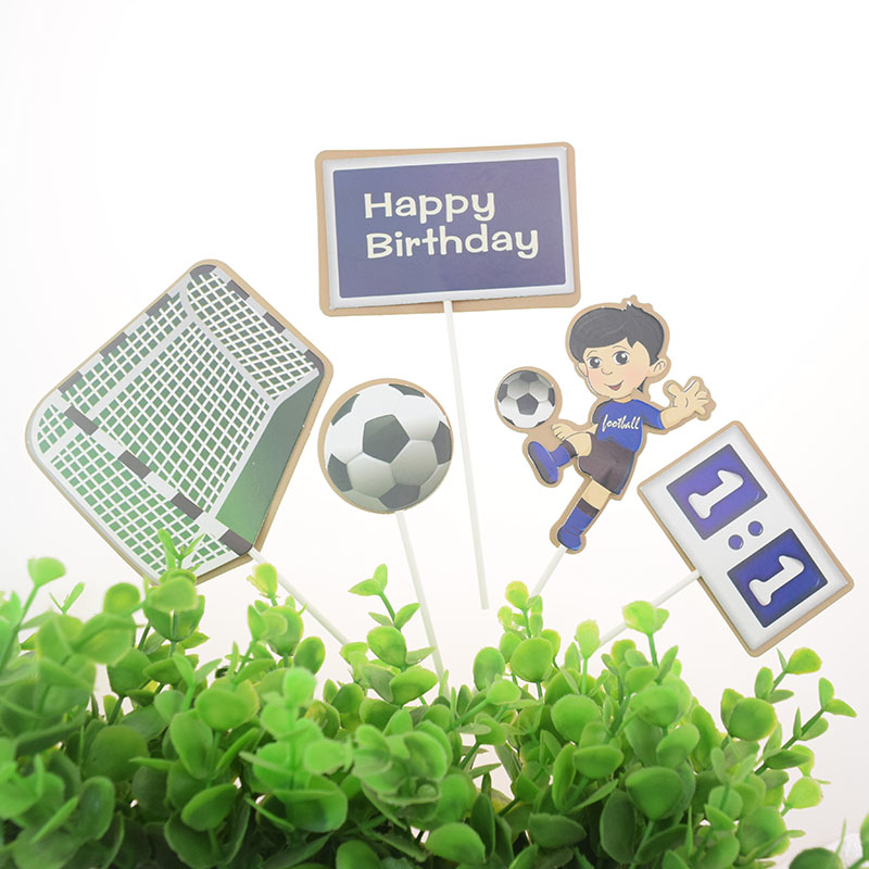 5pcs/set Cake Topper Foottball Soccer Sports DIY Cake Cupcake Toppers Boys Men Happy Birthday Party Wedding Dessert Decor Flags-1