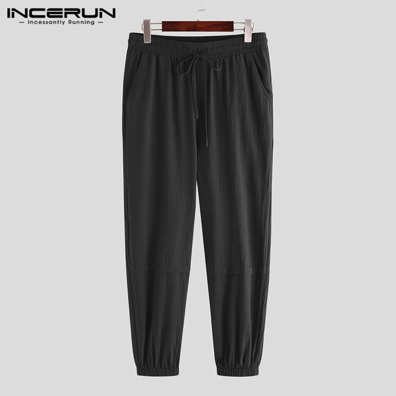 INCERUN Men Harem Beam Feet Pants Fashion Drawstring Joggers Overalls Casual Solid Color Pocket Bottoms Male Sweatpants Trousers