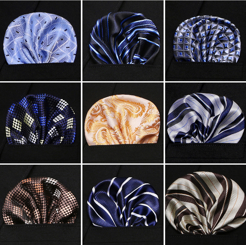 New Fashison  Men 100% Silk Handkerchiefs Floral Paisley Stripes Pocket Squares For Suits Jackets Wedding Party Business