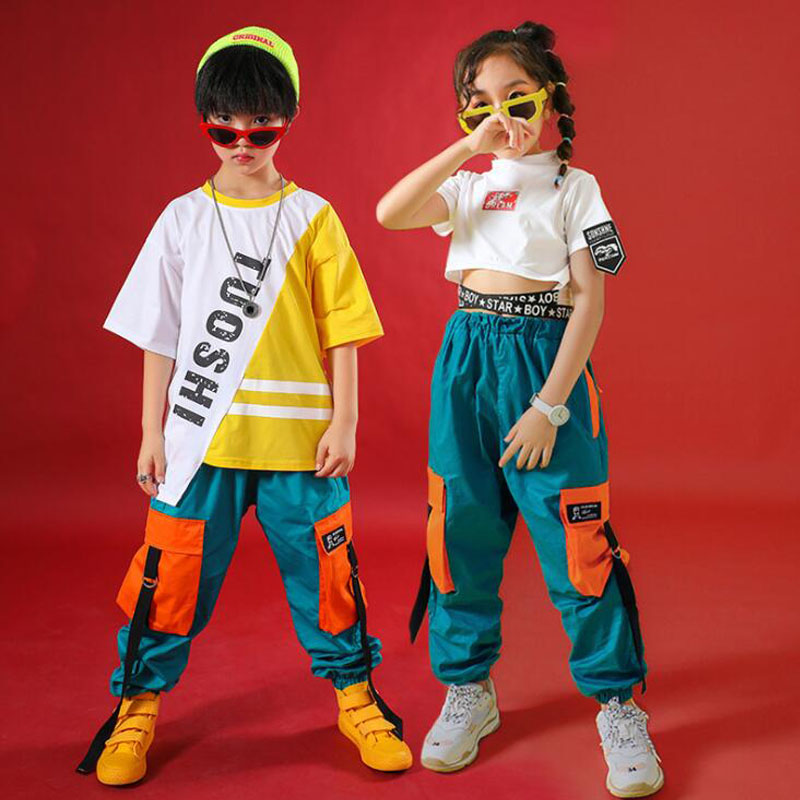 Kids Ballroom Costumes Hip Hop Clothing Dance Jazz BOYS Girls Sage Wear Clothes Loose Tshirt And Pant Dance Wear Outfits