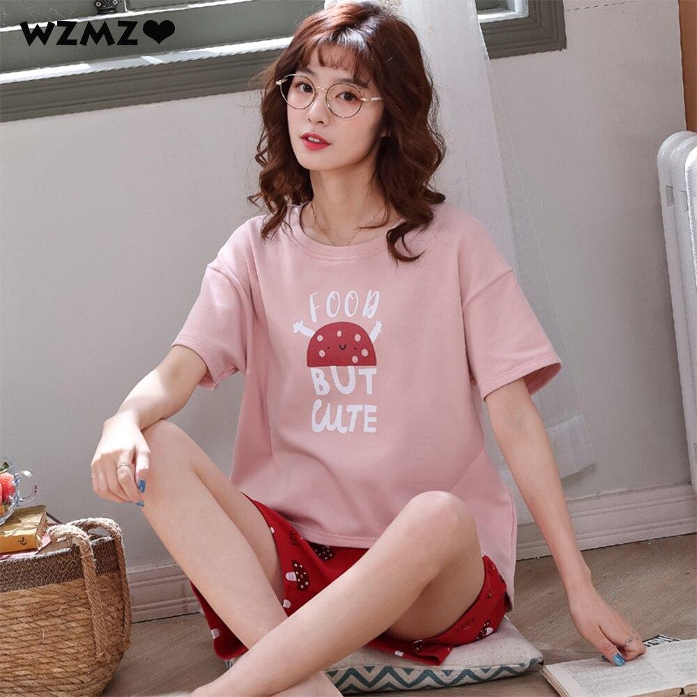 Летняя женская Хлопковая пижама с героями мультфильмов, милая Пижама, одежда для сна, пижама Mujer размера плюс, повседневная одежда для отдых...