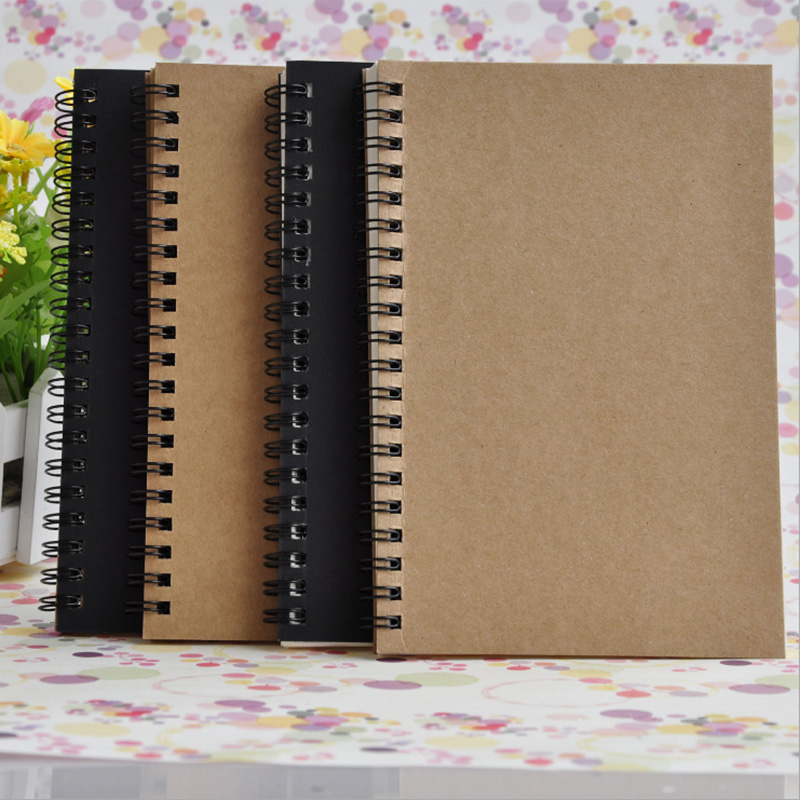 A5 B6 Vintage Kraft Paper Coil Simple Sketch Sketch Blank Diary Notepad Art Picture Book Stationery School Office Dual Use