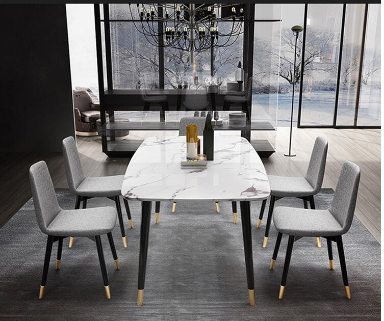 Light Luxury Marble Table Modern Simple Small Family Dining Table Combination Dining Table Household Nordic Style Negotiation