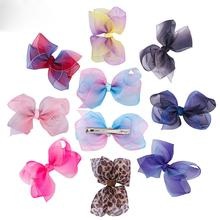 Chiffon Ribbon Bowknot Hair Clip Butterfly Hairpin Cute BB Clipper for Baby Girls Barrette Childrens Accessories