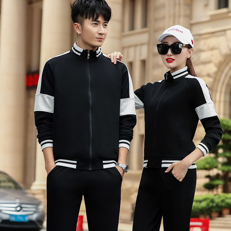 Spring And Autumn New Style Men Long-sleeve Suit Couple Clothes Leisure Sports Suit Men And Women Trend Of Fashion Two-Piece Set